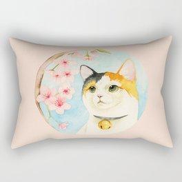 """""""Hanami"""" - Calico Cat and Cherry Blossom Rectangular Pillow"""