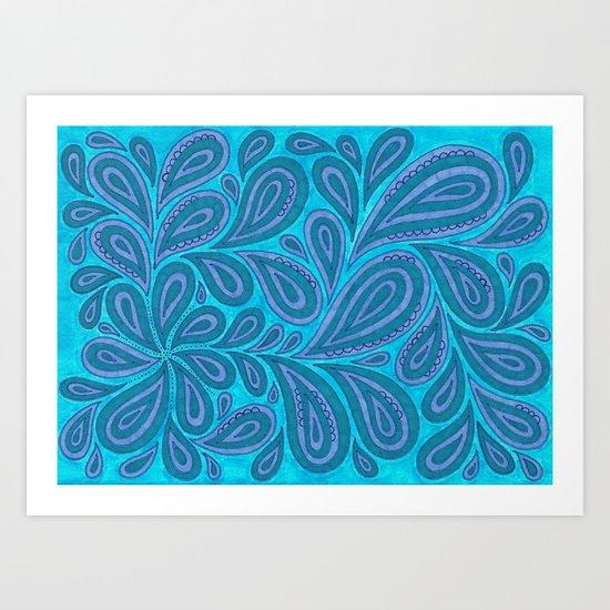 Blue and Blue Art Print