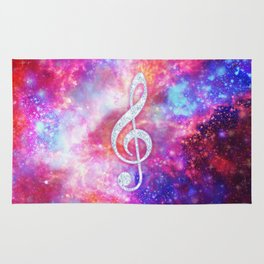 Galaxy Nebula Glitter Music Note Pink Space Rug