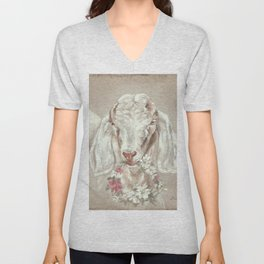 Goat with Floral Wreath by Debi Coules Unisex V-Neck
