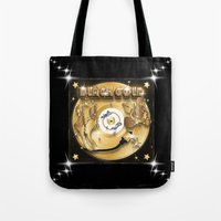 black and gold Tote Bags featuring Black Gold by Nikola Kolobaric