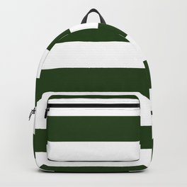 Large Dark Forest Green and White Cabana Tent Stripes Backpack