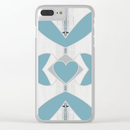 Decorative Abstract Heart Design over Wood Clear iPhone Case