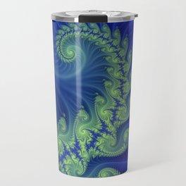 blue and green spiral Travel Mug