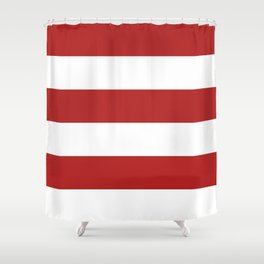Wide Horizontal Stripes - White and Firebrick Red Shower Curtain