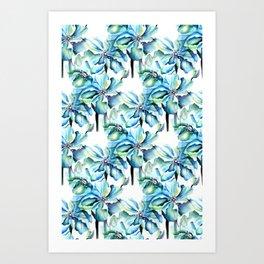 Watercolor Himalayan Blue Poppy in Aqua Pattern Art Print