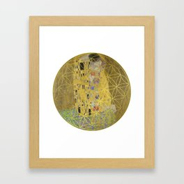 The Kiss - Gustav Klimt - Golden Flower Of Life Framed Art Print