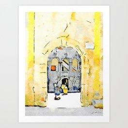 Old woman in courtyard to Tortora Art Print