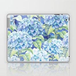 Botanical pink blue watercolor hortensia floral Laptop & iPad Skin