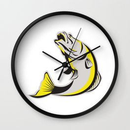 Barramundi Fish Jumping Up Isolated Retro Wall Clock