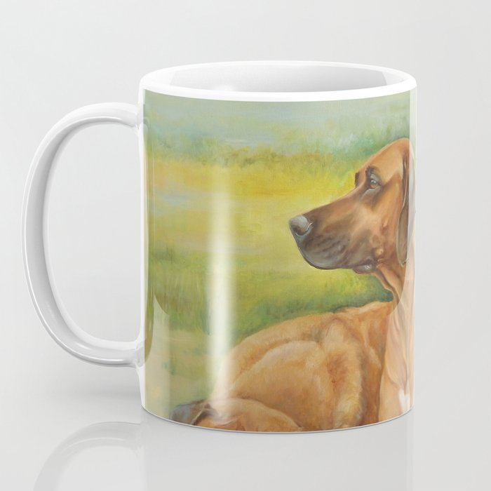 Rhodesian Ridgeback pair African hounds Safari style scene Dog portrait in scenic landscape Painting Coffee Mug