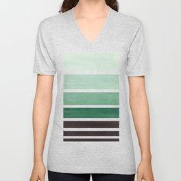 Deep Green Minimalist Watercolor Mid Century Staggered Stripes Rothko Color Block Geometric Art Unisex V-Neck