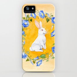 White Rabbit in Blue Flowers iPhone Case