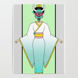 Oni Mask and the Geisha Poster