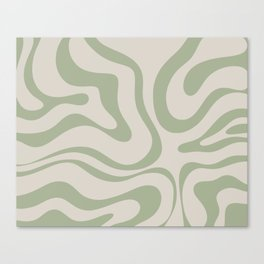 Liquid Swirl Abstract Pattern in Almond and Sage Green Canvas Print