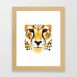 cheetah head close-up illustration Framed Art Print