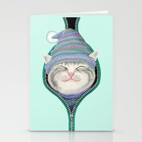 yetiland Stationery Cards featuring Cat in the zip by Tummeow