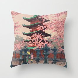 Eight Views of Tokyo - Toshogu Shrine Kasamatsu Shiro Japanese Woodblock Painting Asian Beautiful Throw Pillow