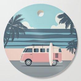 Surfer Graphic Beach Palm-Tree Camper-Van Art Cutting Board