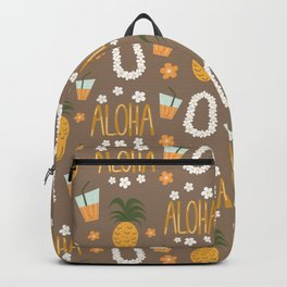 cute summer pattern with hawaiian flowers necklace, pineapples, cocktail and aloha hand drawn text Backpack