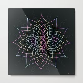 Flower Rainbow Mandala Metal Print