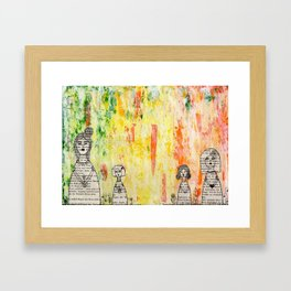 Girls in a Row Framed Art Print