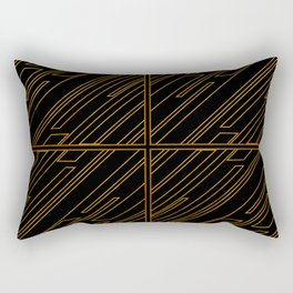 Art Deco Golden Lines Rectangular Pillow