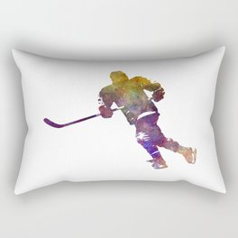 Skater with stick in watercolor Rectangular Pillow