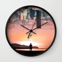 cityscape Wall Clocks featuring Cityscape by Enkel Dika