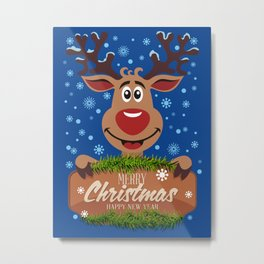 Сheerful deer. Merry Christmas! Metal Print