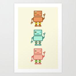 Three Waving Robots Art Print