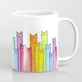 Cat Rainbow Watercolor Whimsical Animals Cats Pattern Coffee Mug