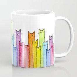 Cat Rainbow Watercolor Pattern Kaffeebecher