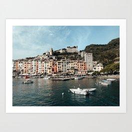 Portovenere Port Pastel Colored Houses | Cinque Terre, Italy | Colorful Travel Photography Art Print Art Print
