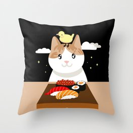 Sushi Eating Cat & Bird Throw Pillow