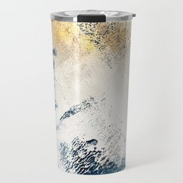 Sunset [1]: a bright, colorful abstract piece in blue, gold, and white by Alyssa Hamilton Art Travel Mug