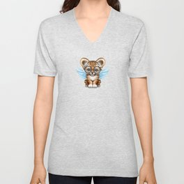 Tiger Cub with Fairy Wings Wearing Glasses on Blue Unisex V-Neck