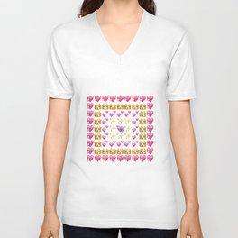 Emoji Hearts  Unisex V-Neck