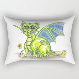 Green Big Eyed Baby Dragon  Rectangular Pillow
