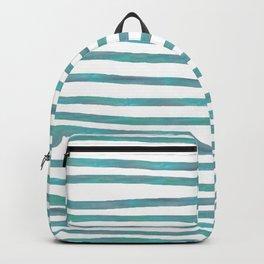 Ocean Green Hand-painted Stripes Backpack