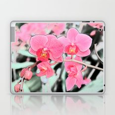 Lovely pink orchid flower color pencil sketch. floral photo art. Laptop & iPad Skin