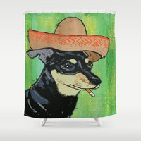 smoking Shower Curtains featuring Smoking Chihuahua by Pat Henzy