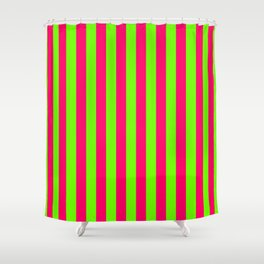 Super Bright Neon Pink and Green Vertical Beach Hut Stripes Shower Curtain