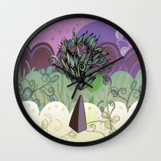 Flower Stone landscape Wall Clock