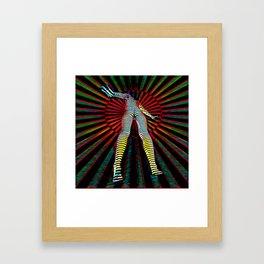 9960s-JPC Feminine Power Up Pop Art Abstract Striped Nude Figure Framed Art Print