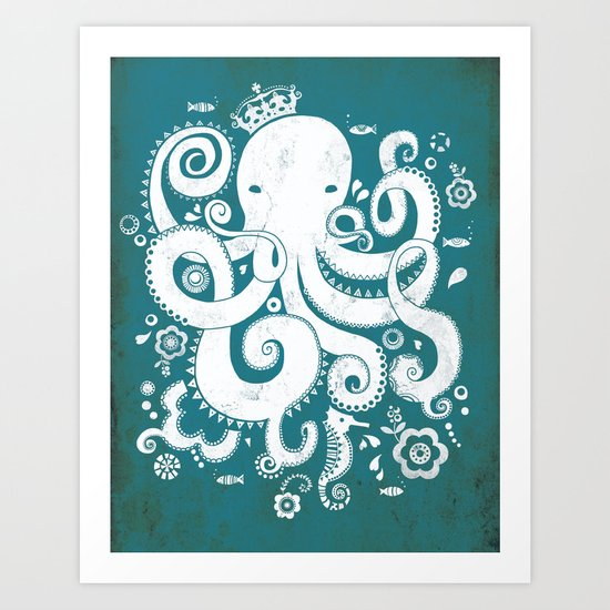 Royal Octopus Art Print