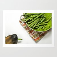 Dog with Green Beans Art Print