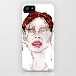 Watercolor abstract girl iPhone Case
