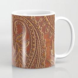 Rusty Tooled Leather Coffee Mug