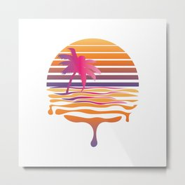 Retro striped sun and palm Metal Print